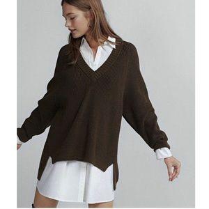 Express Oversized Shaker Knit V-neck Sweater